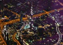 Burj Khalifa Burj Dubai skyskrapa nigh Fotografering för Bildbyråer