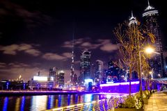 Burj Khalifa from Business Bay Canel royalty free stock photos