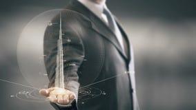 Burj Khalifa Businessman que lleva a cabo nuevas tecnologías de la señal disponible almacen de metraje de vídeo