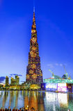 Burj Khalifa changing colors Royalty Free Stock Photo