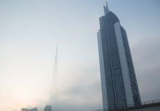 The burj Khalifa covered in mist shot from sheik zayed road, dubai,uae Stock Photo
