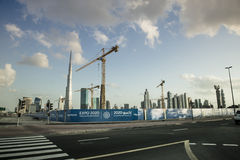 Burj Khalifa and cranes Stock Photo