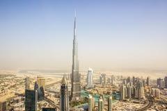Burj Khalifa d'un hélicoptère Photos libres de droits
