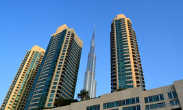 Burj Khalifa Day time with Modern buildings around Royalty Free Stock Photos