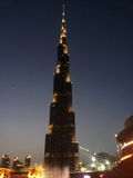 Burj Khalifa in der Nacht, Dubai lizenzfreie stockfotografie