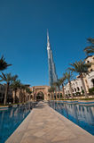 Burj Khalifa in Dubai. A scenic view of the worlds tallest building opened in Dubai in Jan 2010 Stock Photo