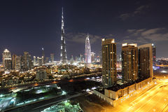 Burj Khalifa and Dubai Downtown at dusk Stock Photo