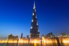 Burj Khalifa in Dubai at night, UAE. DUBAI, UAE - 1 APRIL 2014: Burj Khalifa in Dubai at night, UAE. Burj Khalifa located in Dubai with 829.8 meters high is the Royalty Free Stock Images