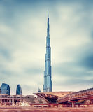 Burj Khalifa and Dubai's modern metro station Stock Images