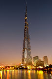 Burj Khalifa in Dubai. Scenic view of Burj Khalifa tower illuminated at sunrise, Dubai, United Arab Emirates Stock Photo