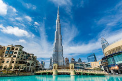 Burj Khalifa, Dubai, United Arab Emirates. Burj Khalifa, the highest building in the world, on a beautiful day, Dubai, United Arab Emirates royalty free stock photos