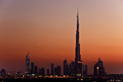 Burj Khalifa at dusk. In Dubai, United Arab Emirates Royalty Free Stock Photography