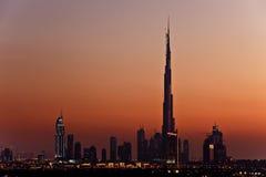 Burj Khalifa en la oscuridad Fotografía de archivo libre de regalías