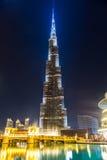 Burj Khalifa facade at night, UAE. Stock Image