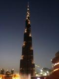 Burj Khalifa i natten, Dubai Royaltyfri Fotografi
