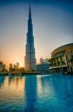 Burj-Khalifa i solnedgång Arkivbilder
