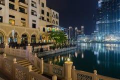 Burj Khalifa Lake bij Nacht Royalty-vrije Stock Afbeelding
