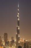 Burj Khalifa na noite. Dubai Foto de Stock Royalty Free