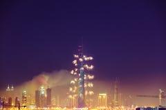 Burj Khalifa New Year 2016 fireworks. 2016 January 1, UAE, Dubai: Burj Khalifa New Year fireworks. Fire at The Address Hotel on January 1 in Dubai royalty free stock image