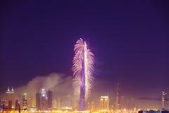 Burj Khalifa New Year 2016 fireworks. 2016 January 1, UAE, Dubai: Burj Khalifa New Year fireworks. Fire at The Address Hotel on January 1 in Dubai royalty free stock photo