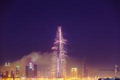 Burj Khalifa New Year 2016 fireworks. 2016 January 1, UAE, Dubai: Burj Khalifa New Year fireworks. Fire at The Address Hotel on January 1 in Dubai royalty free stock photos