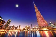 Burj Khalifa night landscape Stock Images