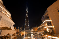 Burj Khalifa Night Shot from Dubai Mall Stock Photography