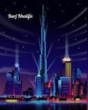 Burj Khalifa på natten med glödande ljus vektor illustrationer