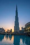 Burj Khalifa på solnedgången Royaltyfri Foto