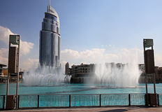 Burj Khalifa Performing Fountain. Stock Image