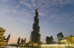 Burj khalifa przy nocą zdjęcie stock