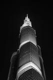 Burj Khalifa przy nocą w Dubaj obrazy royalty free