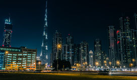 Burj Khalifa. Sheik Zayed road view of Burj Khalifa stock photo