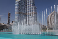 Burj Khalifa skycrapers and the famous fountain Stock Images