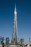Burj Khalifa - världens mest högväxta torn på i stadens centrum Burj Dubai Arkivfoto