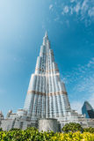 Burj Khalifa vanishing in blue sky in Dubai, UAE. Royalty Free Stock Photo