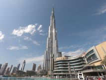 Burj Khalifa view from below in Day Time - World`s Tallest Structure in Dubai UAE with a view of Dubai Mall - World`s Largest Ma stock photo