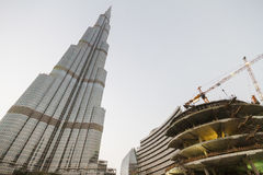 Burj Khalifa that Viewed from Below with Building Construction at Dubai Royalty Free Stock Photos