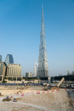 Burj Khalifa, the world's tallest building, over new constructio Royalty Free Stock Photography