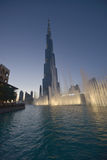 Burj Khalifa z fontanny przedpolem Zdjęcie Royalty Free