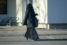 Burka. CIRCA AUGUST 2014 - BERLIN: a Muslim woman in a Burka on the streets of Berlin Royalty Free Stock Photography