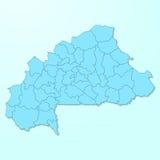 Burkina Faso błękitna mapa na spodlonym tle Zdjęcia Stock