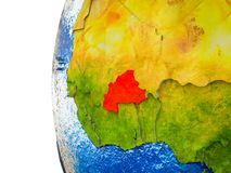 Burkina Faso on 3D Earth. Burkina Faso highlighted on 3D Earth with visible countries and watery oceans. 3D illustration stock photo