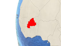 Burkina Faso on 3D globe. Map of Burkina Faso on globe with watery blue oceans and landmass with visible country borders. 3D illustration vector illustration