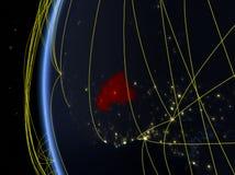 Burkina Faso do espaço com rede ilustração do vetor