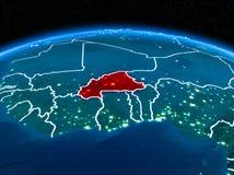 Burkina Faso do espaço na noite Imagem de Stock Royalty Free