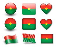 The Burkina Faso flag. Set of icons and flags. glossy and matte on a white background Stock Photos