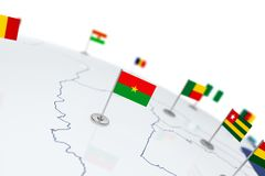 Burkina Faso flag. Country flag with chrome flagpole on the world map with neighbors countries borders. 3d illustration rendering flag vector illustration