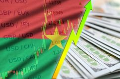 Burkina Faso flag and chart growing US dollar position with a fan of dollar bills. Concept of increasing value of US dollar currency royalty free stock photography