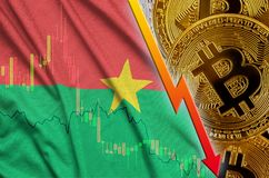 Burkina Faso flag and cryptocurrency falling trend with many golden bitcoins. Concept of reduction Bitcoin in price or bad conversion in cryptocurrency mining royalty free stock images